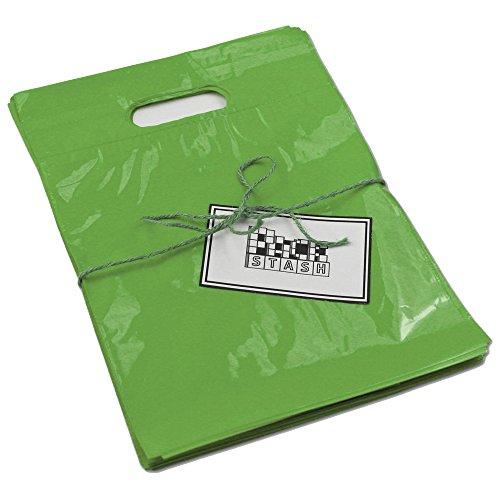 Packstash 11 x 15 x 3 (100 Qty)-Inch Lime Green Retail Merchandise Plastic Shopping Bags - (Medium) Premium Tear-Resistant Film, Double Thick Handles, Vibrant Glossy Finish