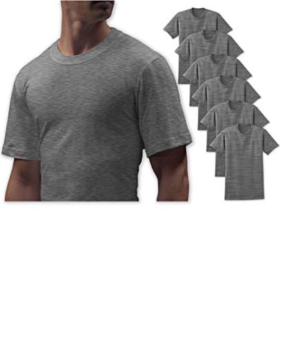 (Andrew Scott Big Man 6 Pack Military Green Cotton Crew Neck Short Sleeve T Shirts (XXX-Large, 6 Pack-Grey))
