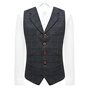 Aegean Blue Herringbone Check Waistcoat with Lapel, Tweed