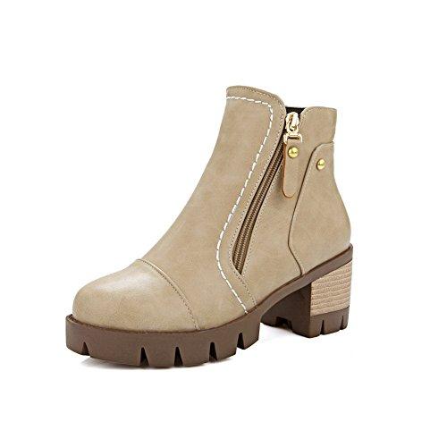 Business Girls Beige Leather AdeeSu Platform Heels Imitated Kitten Boots OT4IFIwaq