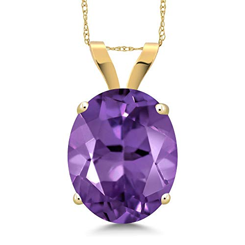 2.50 Ct Oval Purple Amethyst 14K Yellow Gold Pendant With ()