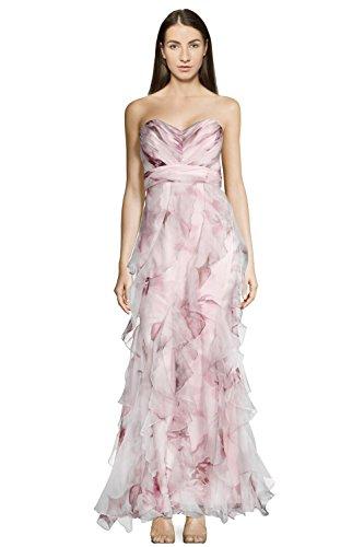 Badgley Mischka Strapless Sweetheart Neckline Ruffled Silk Evening Gown Dress