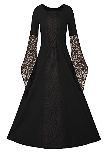 Masquerade Corset Costumes (JeanewPole1 Women Medieval Renaissance Dress Lace Up Retro Gown Cosplay Costume Dress)