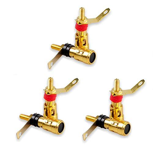 Oiyagai 6pcs Gold Plated 4mm Banana Socket Connector Audio Plug Jack Amplifier Terminal Spring Loaded Press Type Binding Post 35mm (Spring Loaded Binding Post)