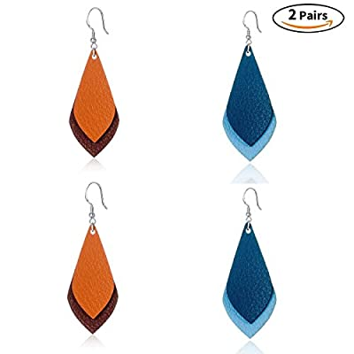 Culovity Layered Leather Earrings Geometric Handcrafted Unique Jewelry for Women Girls