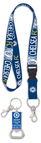 Wincraft Bundle 2 Items: English Premier League Chelsea FC 1 Lanyard Id Holder and 1 Metal Bottle Opener Key Ring