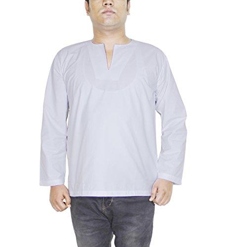 Herren Kurta in Weiß Baumwolle Ethnisches Herrenhemd aus Indien Größe L M XL