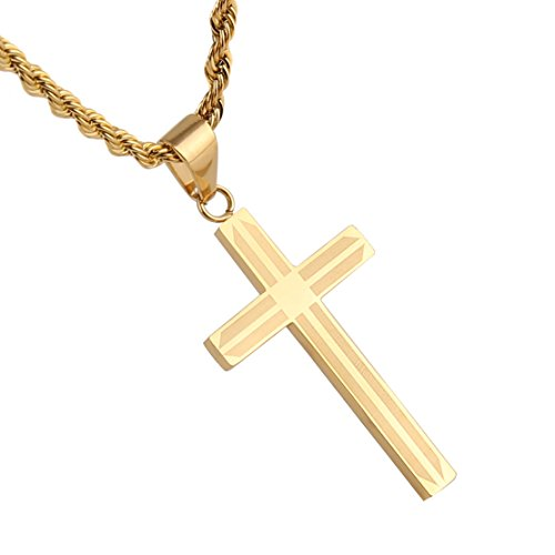 Hzman mens gold stainless steel cross pendant necklace true hzman mens gold stainless steel cross pendant necklace true religious 22 inch rope chain amazon aloadofball Image collections
