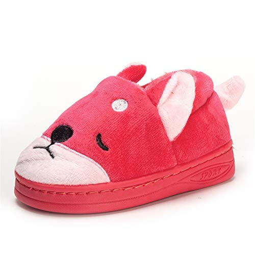 Doggy Toddler Little Kids Plush Slippers Boys Girls Winter Warm Indoor Bedroom Shoes with Fur Rose Red