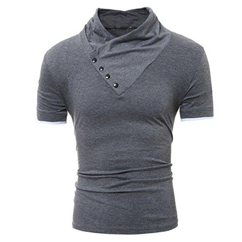 Mens T-Shirt ! Charberry Mens Personality Slim Collar Short