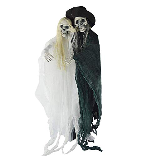 Festival Mask Halloween Toys Horror Conjoined Black And White Double-Body Couple Hanging Haunted House Ghost Room Costumes Automatic Induction Light-Emitting Ghost Bar KTV Decoration Props Costume -