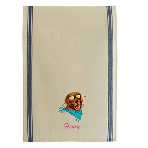 Personalized Custom Text Dog in Sun Glasses Cotton Canvas Kitchen Towel Vintage Trim - Blue Stripe -