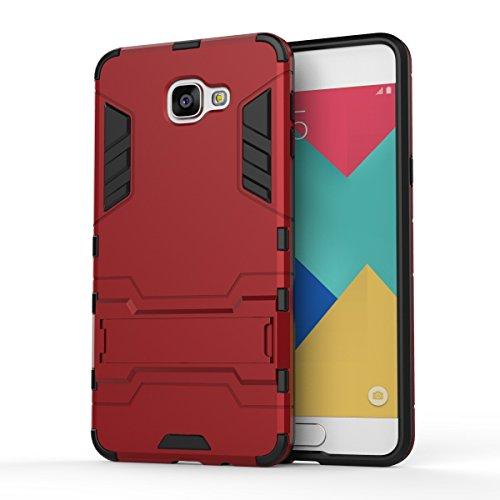 JIALUN-Personality teléfono shell Samsung Galaxy A9 estuche, 2 en 1 caja fría a prueba de golpes del teléfono de la contraportada para Samsung Galaxy A9 Seguridad y Moda ( Color : Blue Black , Size :  Red