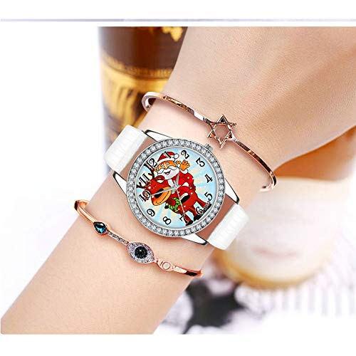 Price comparison product image Christmas Women Watch Diamond Leather Band Wristwatch, Outsta Analog Quartz Vogue Wrist Watches for Children Gift Present (White)