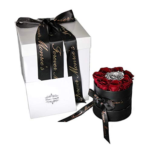 (Forever Monroe's Preserved Real Red & Silver Roses in a round box, Long Lasting Luxury Roses that last a year)