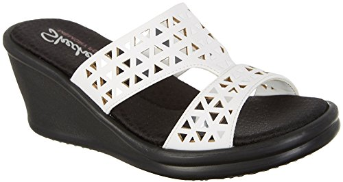 Skechers Cali Women's Rumblers Urban Static Wedge Sandal, White Cutout, 8.5 M US