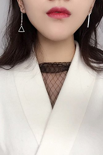Generic 925 authentic silver earrings asymmetric geometric triangle earrings Japan and South Korea new women girls lady Admirable temperament earrings word