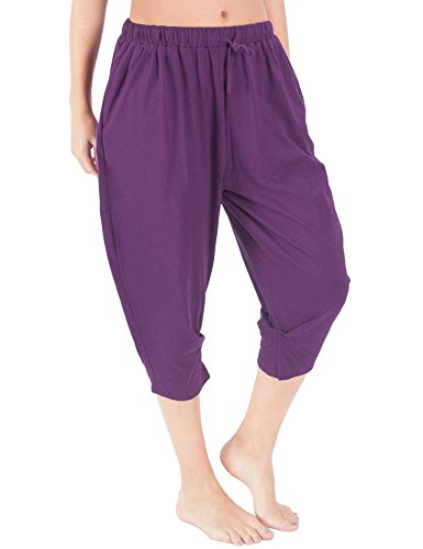 (WEWINK CUKOO Women Cotton Pajama Capri Pants Cropped Lounge Pants with Pockets Harem Pants (XXL=US 20-22, Purple))