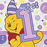 Pooh's First Birthday Girl Beverage Napkins, 16ct