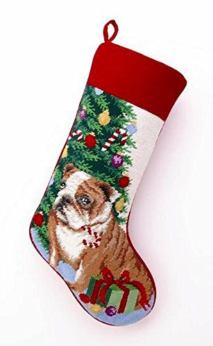 (Peking Handicraft Brown English Bulldog Dog Wool Needlepoint Christmas Stocking, 11 x 18 Inch,Multicolored )