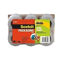 Cinta de embalaje Scotch Sure Start, 1,88 x 900 pulgadas para núcleo de 1,5 pulgadas, 6 rollos por paquete, desenrollado suave y silencioso, funciona en todas las cajas, incluidas las cajas recicladas (DP-1000RF6)