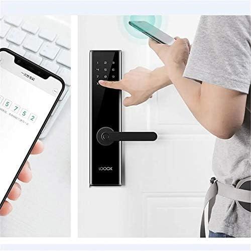 指紋南京錠 スマートドアロック、インテリジェントスマート指紋認証ドアロックパスワードキーレスアプリケーションコントロールロック (色 : Black, Size : ONE SIZE)