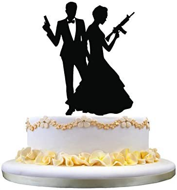 Amazon Com Restore2a Funny Wedding Cake Toppers Bride And Goom Holding Guns Sweet Gift For Wedding Toys Games