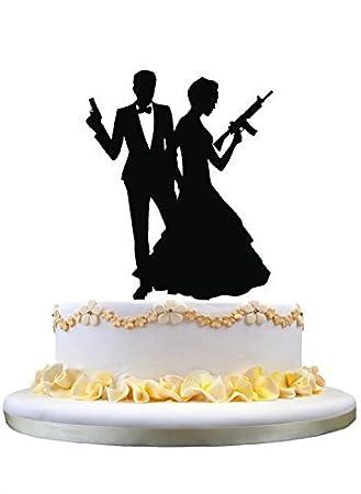 Lustige Hochzeitstorte Topper Braut Und Goom Holding Guns Susses