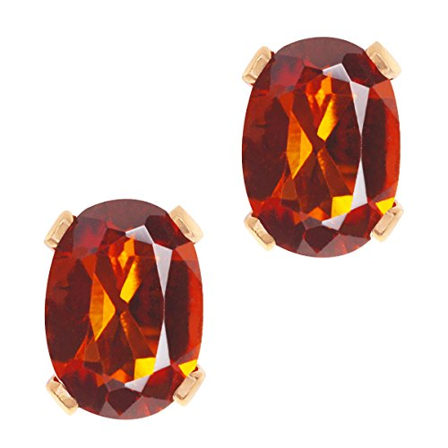Gem Stone King 1.40 Ct Oval Shape Orange Red Madeira Citrine Gold Plated Silver Stud Earrings - Madeira Citrine Ring