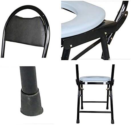 介護用ポータブルトイレ椅子 ポータブルトイレチェア折りたたみ スチールの椅子 シャワー 成人用 なベッドサイドトイレ 高齢者や妊娠中の女性用