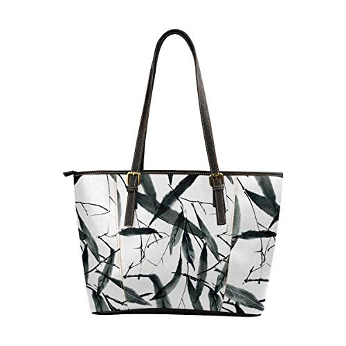 InterestPrint Women Handbags Shoulder Bags Tote PU Leather Handbags Traditional Oriental Chinese Bamboo Leaves Ink Painting