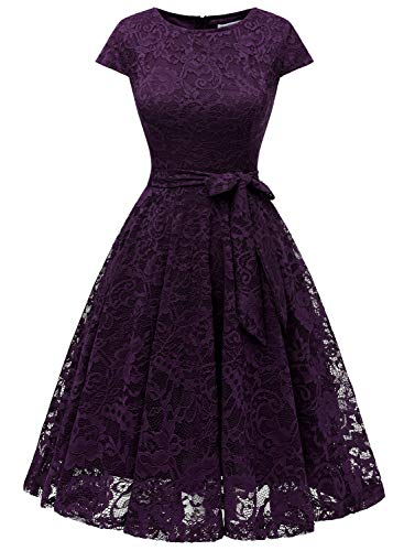 MUADRESS 6008 Women Short Lace Bridesmaid Dresses with Cap-Sleeve Formal Party Dresses S Grape
