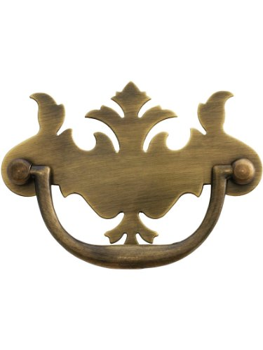 "3"" On Center Solid Brass Chippendale Style Bail Pull in Antique-by-Hand Finish"