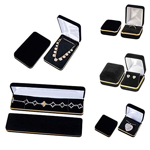 Black Velvet Jewelry Box Assortment - Set of 5 - Includes 5 Different Sizes of Jewelry Boxes