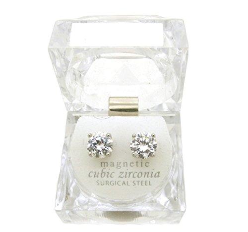 Silver Tone 4,5,6,7,8,9,10mm Clear Round Shape Cubic Zirconia Magnetic Stud Earring (All Size) (9mm (0.9cm))