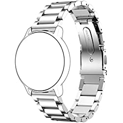 Coohole Stainless Steel Polished Watchband Strap Bracelet for Watches with 20mm Band Width (silver)