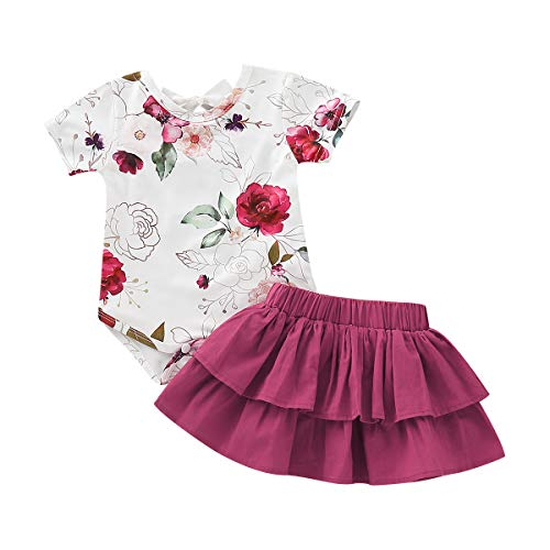 Moolia Infant Baby Girl Floral Print Romper Summer Skirt 2Pcs Clothing Set Outfit (80(6-12M), Red) 24m Baby Girls Spring