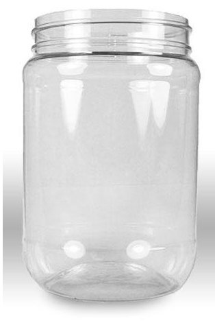 Pack of 6 Crystal Clear PET Plastic Wide Mouth Jars with Pressurized White Screw on cap lids and containers in the U.S.A.!!! (32 ounce)