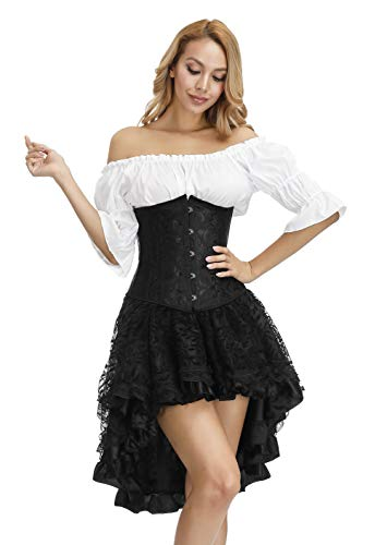 Steampunk Corset Dress for Women Off Shoulder Blouse Corset Top with Gothic Skirt 3 Piece Outfits S