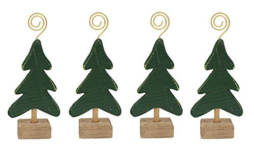 Gerson Christmas Tree Wooden Holiday Card & Photo Holders - Set of 4 ()