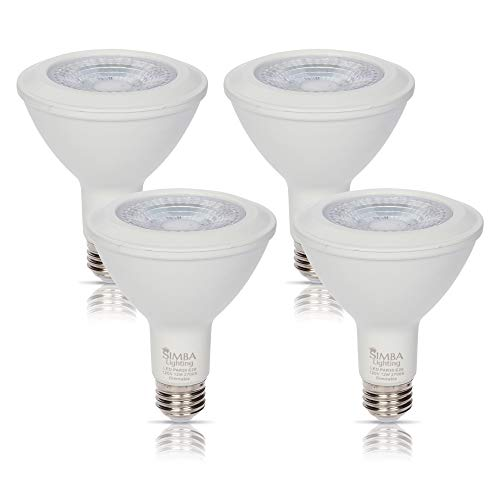(Simba Lighting LED PAR30 Light Bulb Long Neck 12W 38deg Spotlight Dimmable (4-Pack) for Indoor Recessed Can and Outdoor PAR 30, 120V E26 Base, 60W to 75W Halogen Replacement, 2700K Warm White)