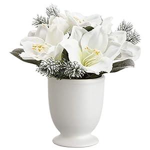 """11.5"""" Snowed Amaryllis & Pine Silk Flower Arrangement -White/Snow (Pack of 6) 11"""