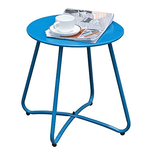 COBANA Patio Metal End Table, 16 inch Round Outdoor Side Table, Blue by COBANA