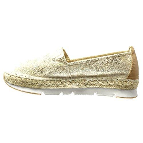 Angkorly - Chaussure Mode Espadrille Mocassin bi-matière semelle basket femme brillant corde tréssé Talon plat 3 CM - Or