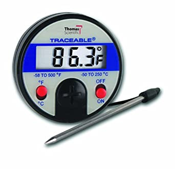 Thomas Traceable Ultra Full-Scale Thermometer, 5.75 Probe Length, -58 to 500 degree F, -50 to 250 degree C