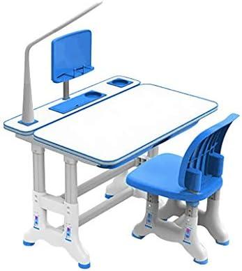 本棚と絵画、学校と家庭の子供の机のための傾斜可能な描画テーブルを持つ子供の机と椅子のセット高さ調節可能デスク、LEDライト、(70 * 40センチメートル) (Color : Blue)