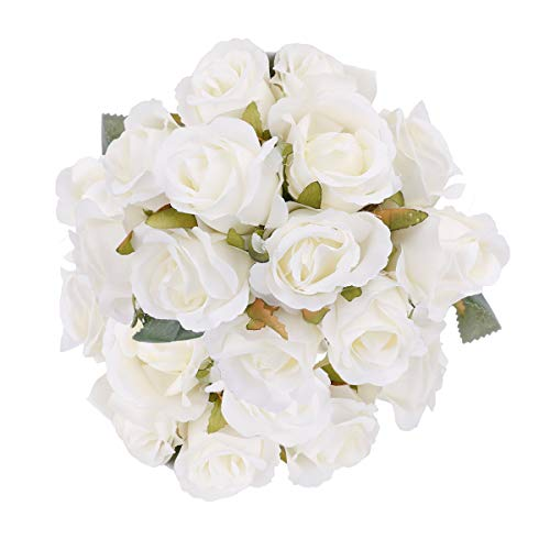Pauwer 24 Heads Artificial Rose Flower Bouquets Silk Rose Bridal Bouquets for Wedding Party Garden Home Decoration, White from Pauwer