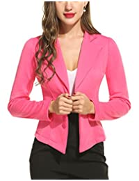 ACEVOG Women's Long Sleeve Solid Casual Work Office Slim One Button Blazer