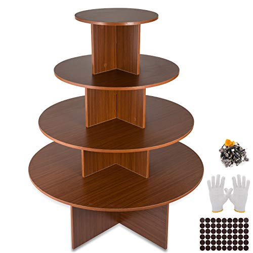 (BestEquip 4-Tier Display Table Teak Wood Retail Display Table Multi-Tier Round Table for Boutique Clothing and Retail Store (3.52ft-3ft-2.36ft-1.54ft, Brown))