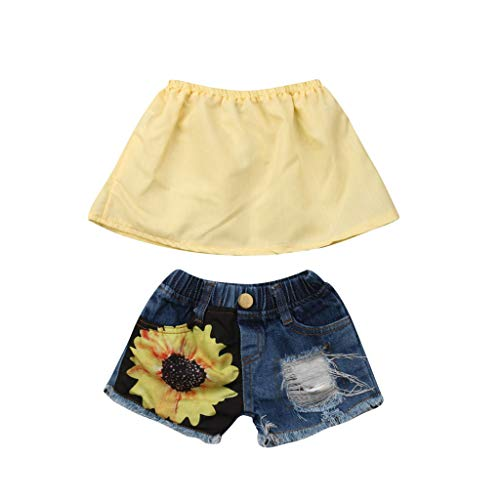 RAINED-Toddler Baby Girls Off Shoulder Crop Tops+Sunflower Ripped Shorts 2-Piece Shorts Set Summer Beach Outfits Set Yellow